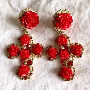 Flower cross earrings